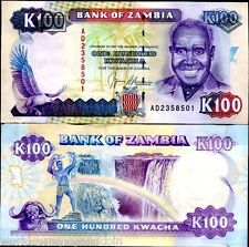 ZAMBIA 100 KWACHA P34 1991 X 100 PCS LOT BUNDLE BUFFALO VICTORIA FALL UNC NOTE