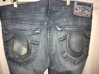 """True Religion Mens 36"""" x 34"""" Bootcut Denim Jeans Grey True To Size Made In USA"""