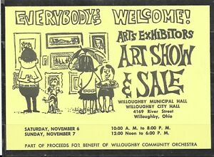 """1965 US Illustrated Advertising Postal Card """"Art Show & Sale"""", Willoughby, OH"""