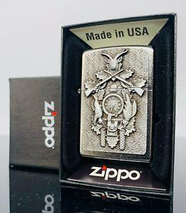Zippo Feuerzeug Uhr Jäger Hirsch Geweih mit Emblem Zippo Benzinfeuerzeug