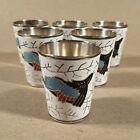Six Vintage Melkhior Enamel Cloisonne Russian Shot Glasses USSR LUM Marked
