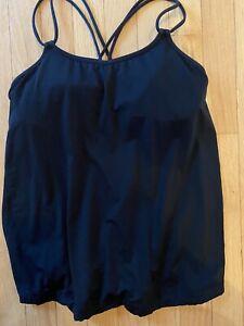 Lululemon Tank Top Active Wear Shirt Racerback Black Strappy Padded Bra Size 6