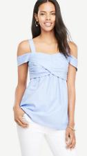 Ann Taylor Blue Petite Cold Shoulder Wrap Back Ties Top Size PM $69