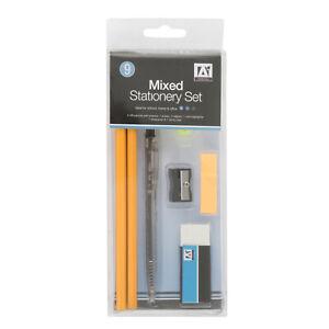 Mixed stationery sets; HB Pencils, ballpoint pen, eraser, sharpener JOB LOT X24