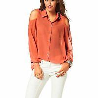 SCHULTER Cut-Outs Chiffon Gr.32/34/36 XS/S TRANSPARENT BLUSE TOP NEON-ORANGE