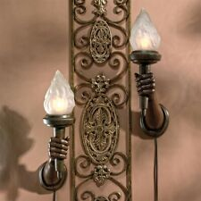 Set of 2: French Neoclassic Hand Held Torch Verdigris Bronze Finish Wall Sconce