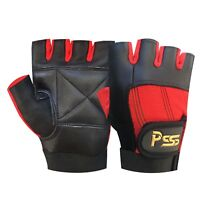 WEIGHT LIFTING PADDED LEATHER GLOVES TRAINING FITNESS BODY BUILDING GYM - 305