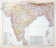 Map of India 1909. Stieler. BOMBAY. CALCUTTA. NEPAL. BURMA