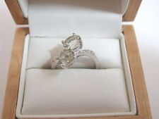 Fantastic 18ct White Gold Two Stone Citrine Set Ring With Diamond Shoulders