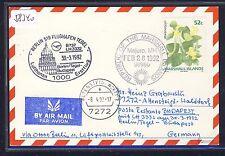 58340) LH FF Berlin - Budapest 30.3.92, Karte ab Marshall Islands flower