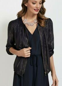 new s 8   SUSSAN black gold metallic glitter BOMBER JACKET  cardigan zip up