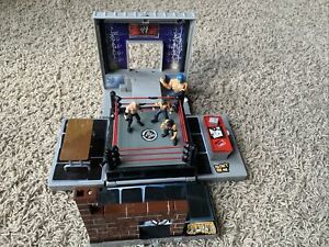 WWE WWF Micro Aggression Crash & Bash Playset Cage Match Jakks Mini Wrestlers 3