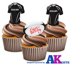 12 x Exeter Chiefs Happy Birthday Rugby Ball Pack EDIBLE WAFER CAKE TOPPERS