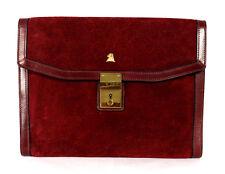 MARK CROSS Vintage Burgundy Red Suede & Leather Envelope Clutch Bag