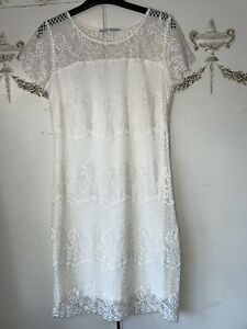 """'Next' Petite Size 8 Cream Fully Lined Dress Chest 36"""" New Without Tags"""