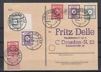 CU7632/ GERMANY SOVIET ZONE – SAXONY – MI # 53 + 58 + 60 + 61 / 63 ON POSTCARD