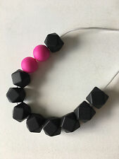 Teething Necklace Nursery Sensory Baby Showers Sillicone Beads Black & Pink