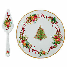 NEW ROYAL ALBERT OLD COUNTRY ROSES CHRISTMAS TREE 2 PC CAKE PLATE & SERVER SET