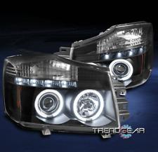 FOR 2004-15 TITAN/2005-07 ARMADA CCFL HALO LED PROJECTOR HEADLIGHTS LAMPS BLACK