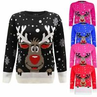 New Ladies Women Men Knitted Rudolph Reindeer Xmas Christmas Jumper Sweater Top