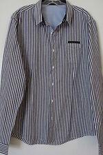 CHRISTIAN AUDIGIER  Blue Striped Long Sleeve Button Front Shirt SIZE: XL