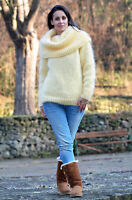 Designer Hand Knitted Yellow Mohair Cowl neck Sweater Fuzzy Dress EXTRAVAGANTZA