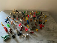 Vintage Lot Of 73 Plastic Miniature Zoo, Dinosaurs Animals Assorted Hong Kong