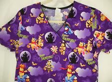 Disney Halloween Happy Haunting Winnie the Pooh Tigger Scrub Top Purple Sz L