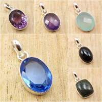 925 Silver Plated AQUA CHALCEDONY & Other Stone Little Pendant FASHION Jewelry