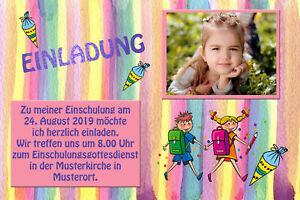 Dein Foto - Einschulung Einladung Fotokarten Pastellfarben