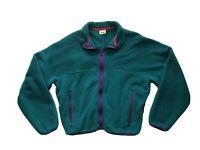 Vintage L.L. Bean Aqua Purple Script Cursive Logo Fleece Jacket Size L
