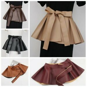Ruffles Womens Peplum Belt Corset Skirt Faux Leather Pleated Vintage Extra Wide