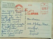 DENMARK 1963 PICTURE POST CARD WITH D.F.D.S. SHIPPING LINE BOAT METER MARK