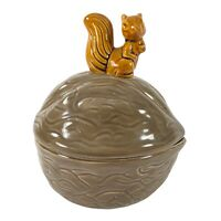 """Vintage Armbee Ceramic Lidded Nut Dish Shaped Walnut with Squirrel on Top 7""""T 6"""""""