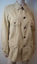 RALPH LAUREN Menswear Beige 100% Cotton Leather Trim Military Style Jacket Sz:40