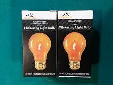 TWO 1W FLICKERING LIGHT BULB HALLOWEEN MEDIUM SCREW BASE
