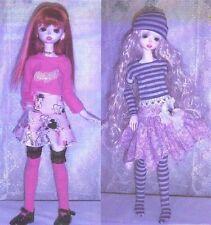 "Long,Short sleeve top,socks 2- skirts arm warmers Pattern 16"" Slim Msd Bjd"