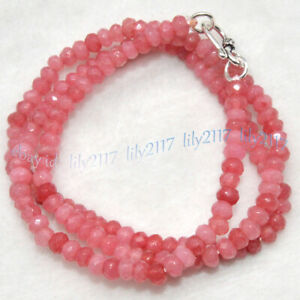 2x4mm Natural Pink Rhodochrosite Faceted Gem Roundel Beads Necklace Silver Clasp