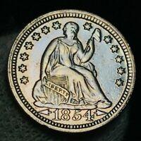 1854 Seated Liberty Half Dime 5C High Grade AU Details US Silver Coin CC2255