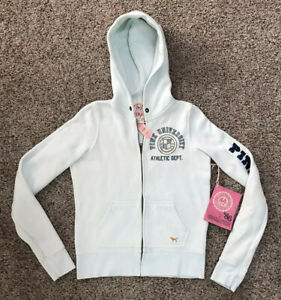 New PINK Signature 86 Full Zip Hoodie Light Blue Womens Size Small $44.50