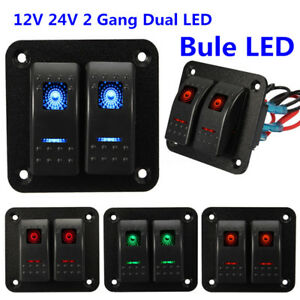 Universal 12V 24V 2 Gang Blue LED Light Car Auto Marine Boat Rocker Switch Panel