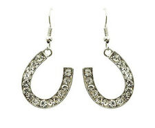 HORSE & WESTERN  JEWELLERY JEWELRY LADIES SILVER  HORSESHOE  EARRINGS CLEAR