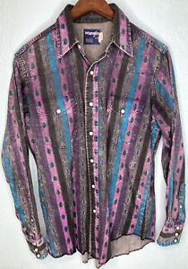 VTG Wrangler X Long Tails 16-35 Western Pearl Snap Button Up Shirt BOLD Aztec