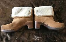 UGG Heel Wedge Boots Wool Lining Studs Tan Suede Clog Lynnea Eur 40 UK 7/7.5 VGC