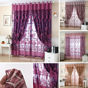 Voile Window Curtains Flower Pattern Sheer Panel Drape Curtains with Gromm N Sk