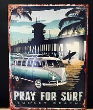 Large VW Volkswagen Kombi Van Wall Plaque ' Pray for Surf ' Metal Blue Ocean Art