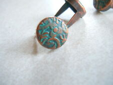 """20 Round Vine Spots 3/8"""" Copper And Teal/ turquoise Patina  2 Prong"""
