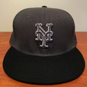 New York Mets Hat Baseball Cap Fitted 7 1/8 New Era Gray Black Vintage MLB NYM