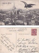 # MILANO: SALUTI DA - PICCIONE CHE PORTA UNA LETTERINA   1905