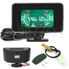 12V/ 24V Car LCD Digital Display Voltmeter / Water Temp Temperature 2 in 1 Gauge